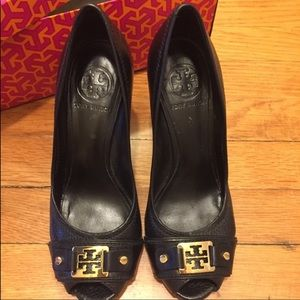 Tory Burch Carnell High Open Toe Black Wedge